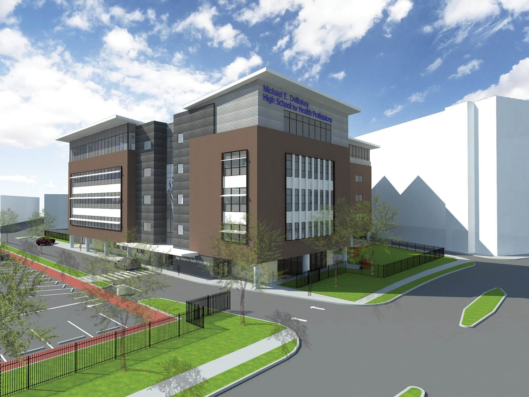 The design for the new five-story DeBakey High School building, to be completed in 2016 (Credit: WHR Architects)