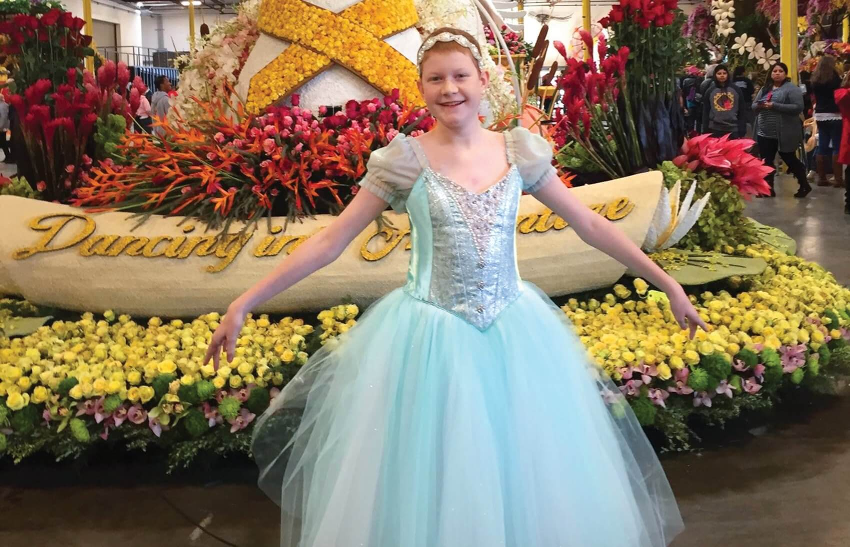 The Houston Ballet hand-made a costume for Peyton to wear on the Northwestern Mutual float in the 2016 Rose Parade. (Credit: Northwestern Mutual)