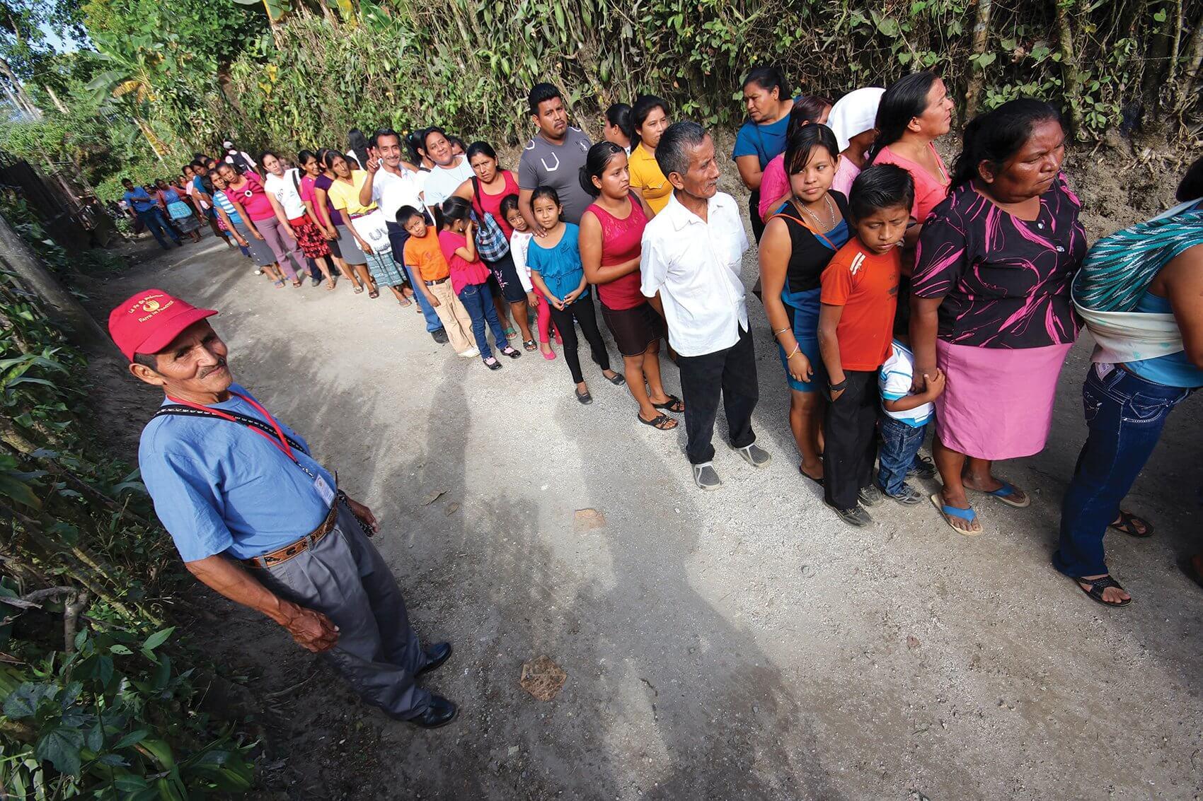 Patients wait in line in San Marcos, Guatemala. (Credit: Josie Johnson)