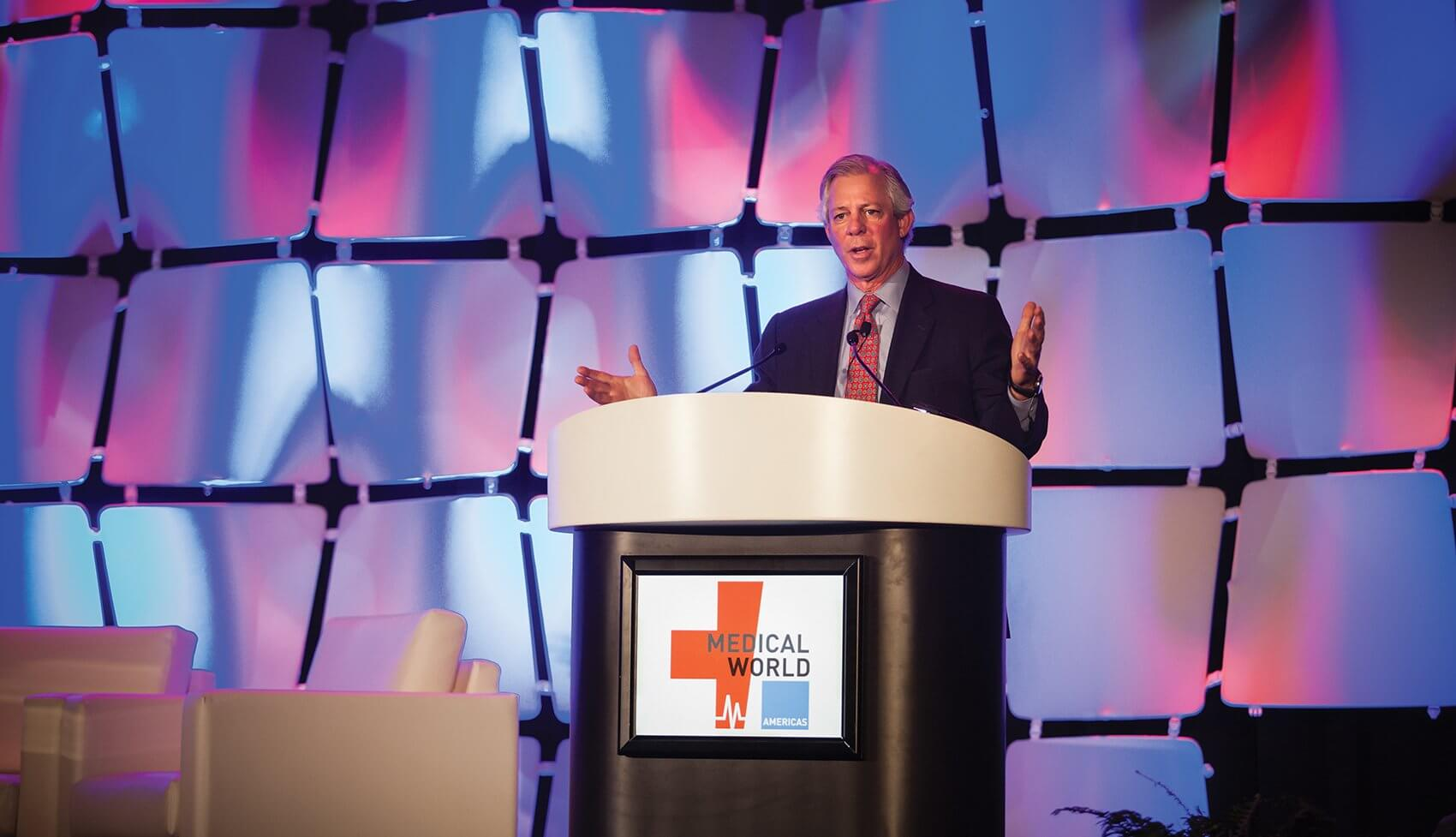 Texas Medical Center President and CEO Robert C. Robbins speaks at Medical World Americas.