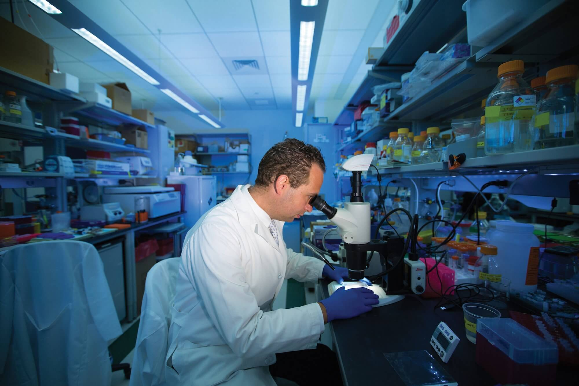 Christian Schaaf, M.D., Ph.D., investigator at the Jan and Dan Duncan Neurological Research Institute at Texas Children's Hospital and assistant professor in the Department of Molecular and Human Genetics at Baylor College of Medicine, in his lab.