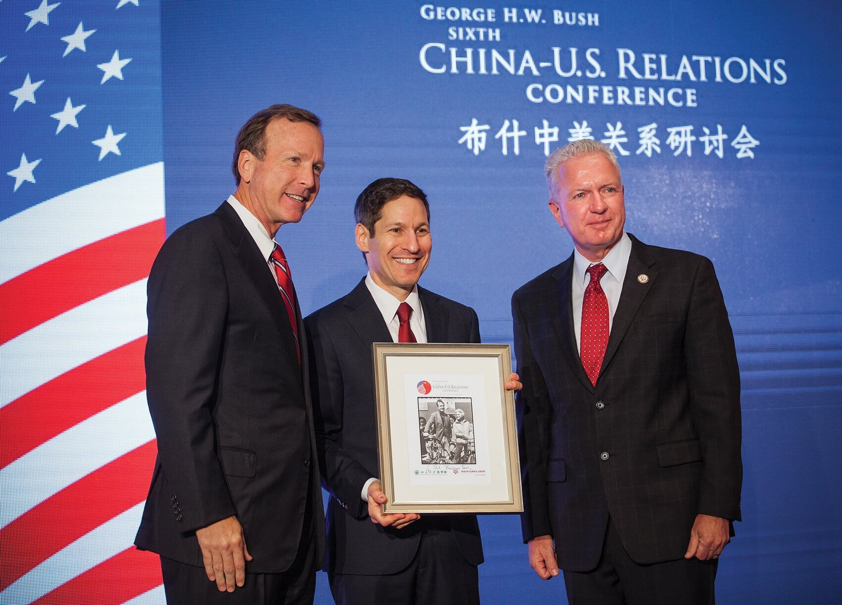 From left to right, conference co-chair Neil Bush, keynote speaker Thomas Frieden, M.D., director of the U.S. Centers for Disease Control and Prevention, and Brett Giroir, M.D., chief executive officer of Texas A&M Health Science Center.