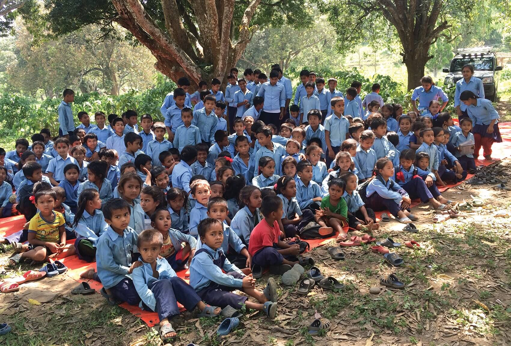 Students gather at a school in the Gorkha district of Nepal.