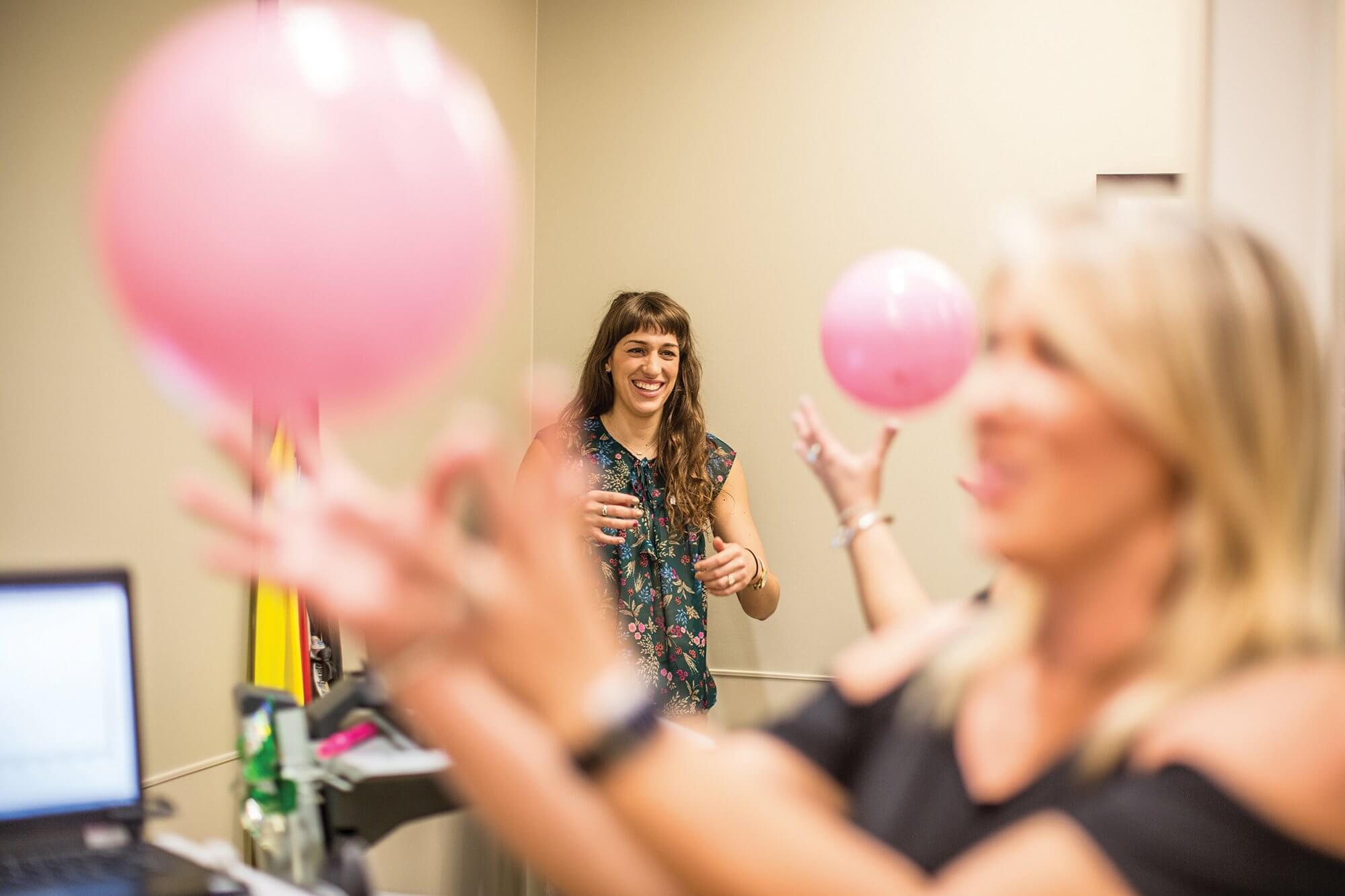 Vanessa Schlitzkus, right, works with April Dominick, a physical therapist, in the Pelvic Floor Health Center at Memorial Hermann Memorial City Medical Center.