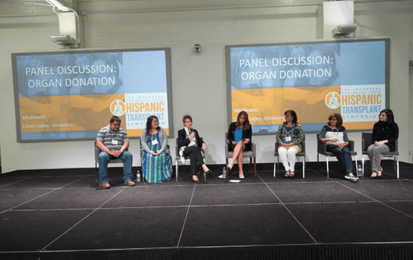 Lizzet Lopez, of Univision, hosts a panel discussion among transplant recipients, donor families, living donors and those waiting for transplants.