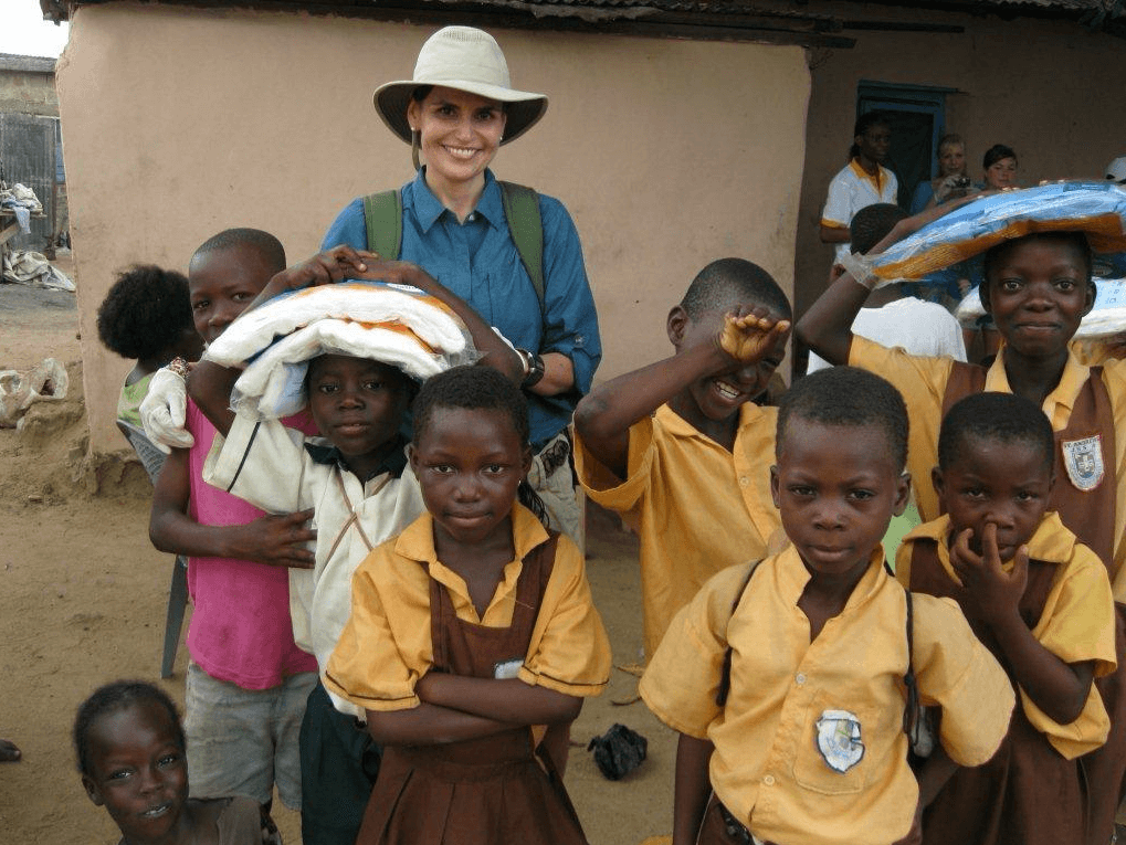 Castillo-Rhodes volunteering in Ghana.