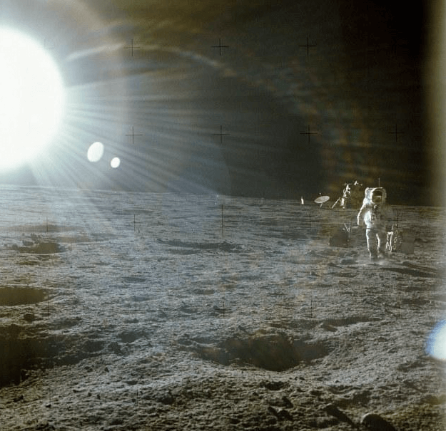 Astronaut Alan Bean from Apollo 12 pointed his camera at the sun to get this photo causing the camera to burn out.