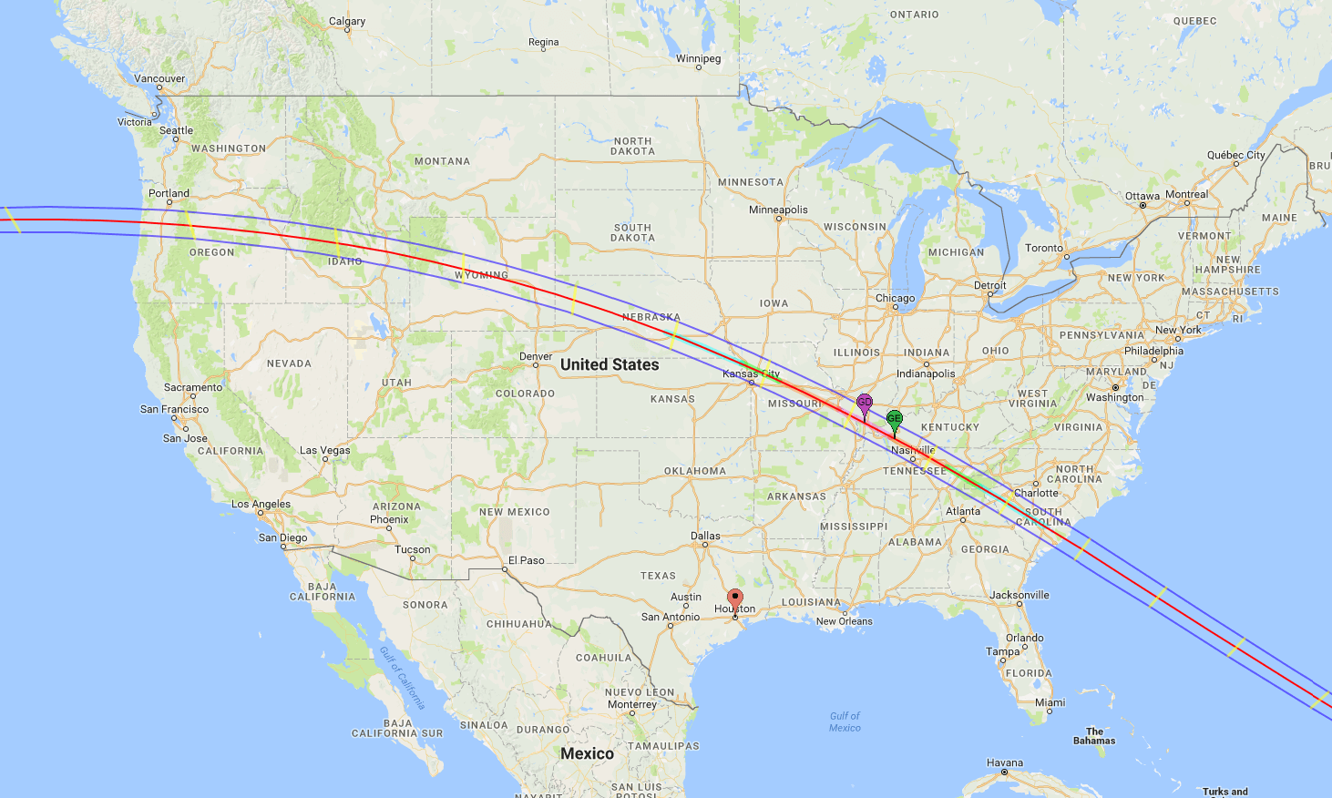 The projected path of the total solar eclipse.