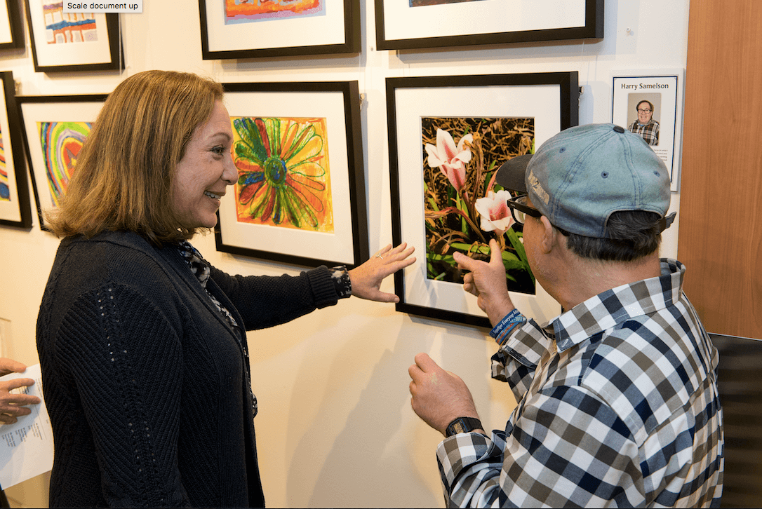 Vikki Evans and Celebration Company artist, Harry Samelson showcasing his work at ReelArt. Photos Courtesy of ReelAbilities.