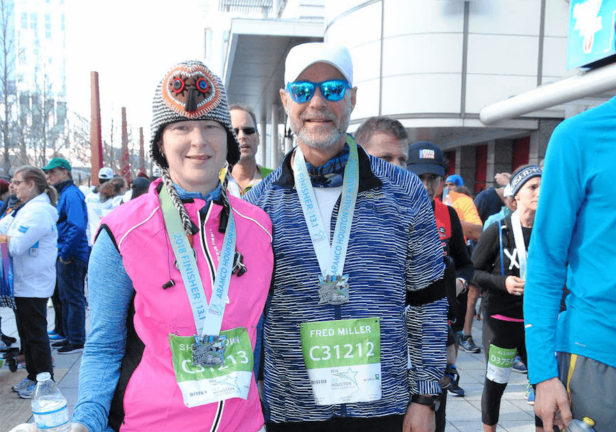 From left, Shae Brown and Fred Miller at the Chevron Houston Marathon.