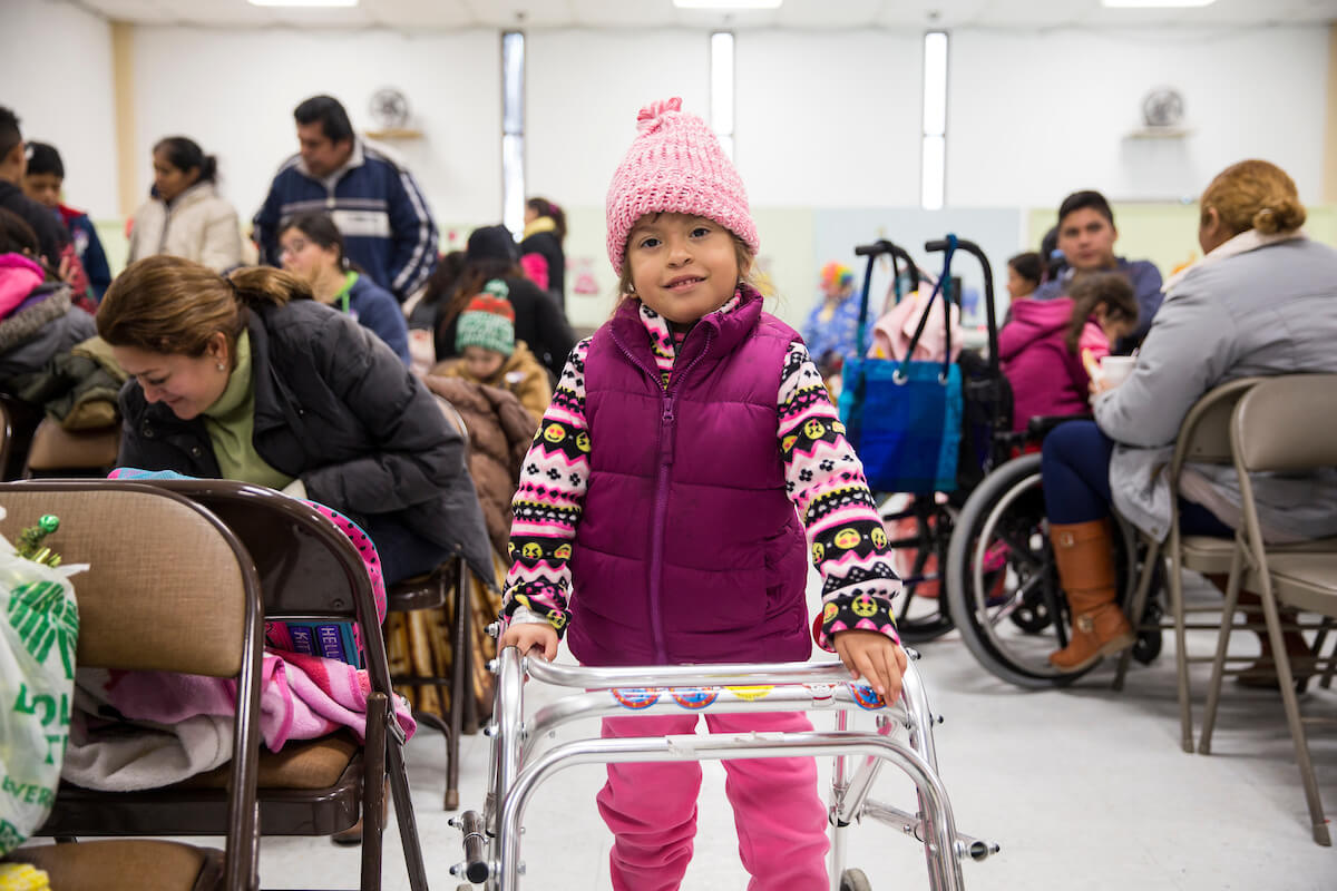 A patient at a Shriners clinic in La Feria, Texas in late 2017. The clinic is run by Shriners Hospitals for Children—Houston. (Credit: Scott Dalton)