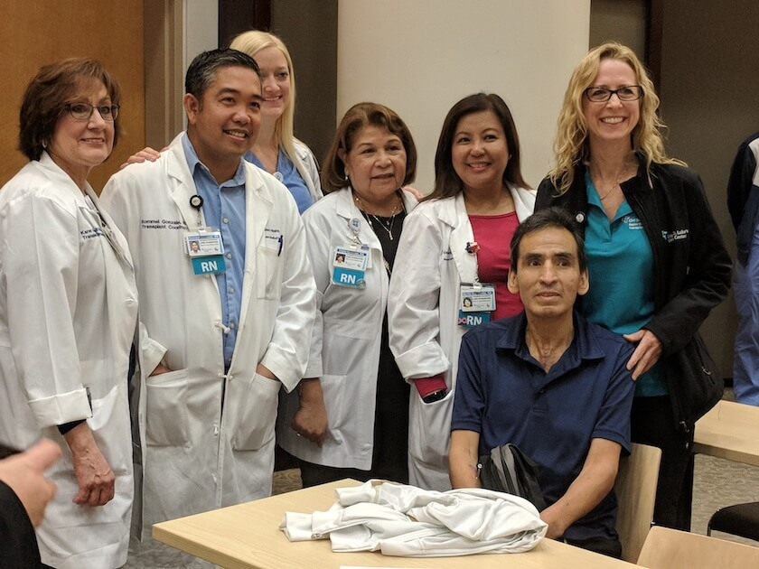 Silviano Trino with his surgical care team at Baylor St. Luke's Medical Center.
