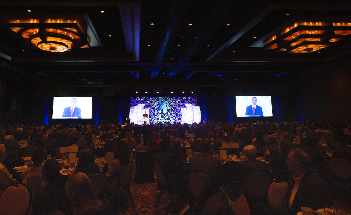 Texas Medical Center CEO Bill McKeon speaks at the Hilton Americas in downtown Houston during his