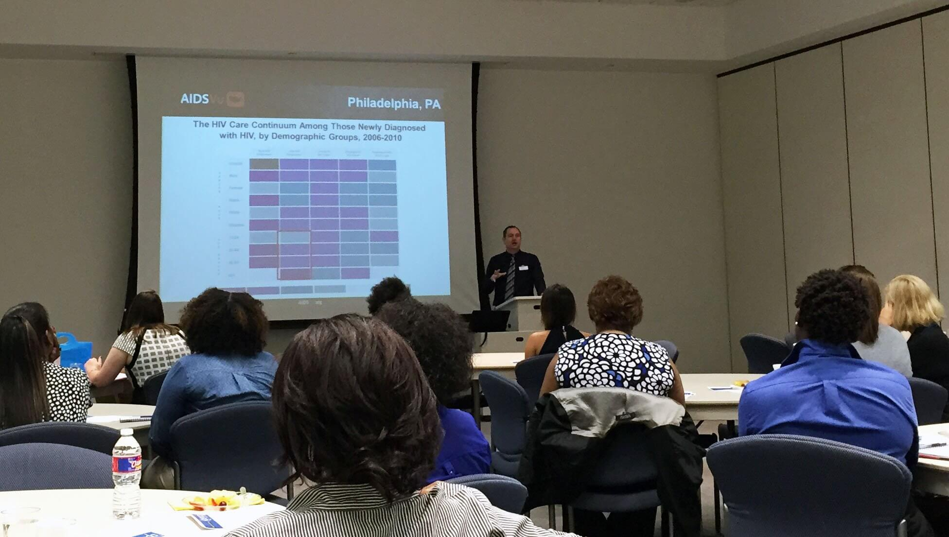 Patrick Sullivan, DVM, Ph.D., epidemiologist and investigator at the Center for AIDS Research at Emory University's Rollins School of Public Health, presents data on the prevalence of HIV in the U.S.