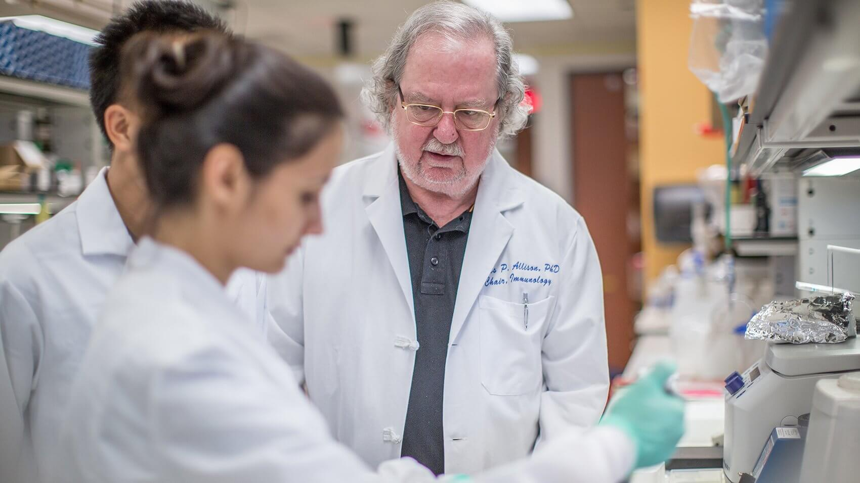 Allison and the researchers at his MD Anderson labs are seeking new checkpoint targets, as well as more effective combinations of treatments.