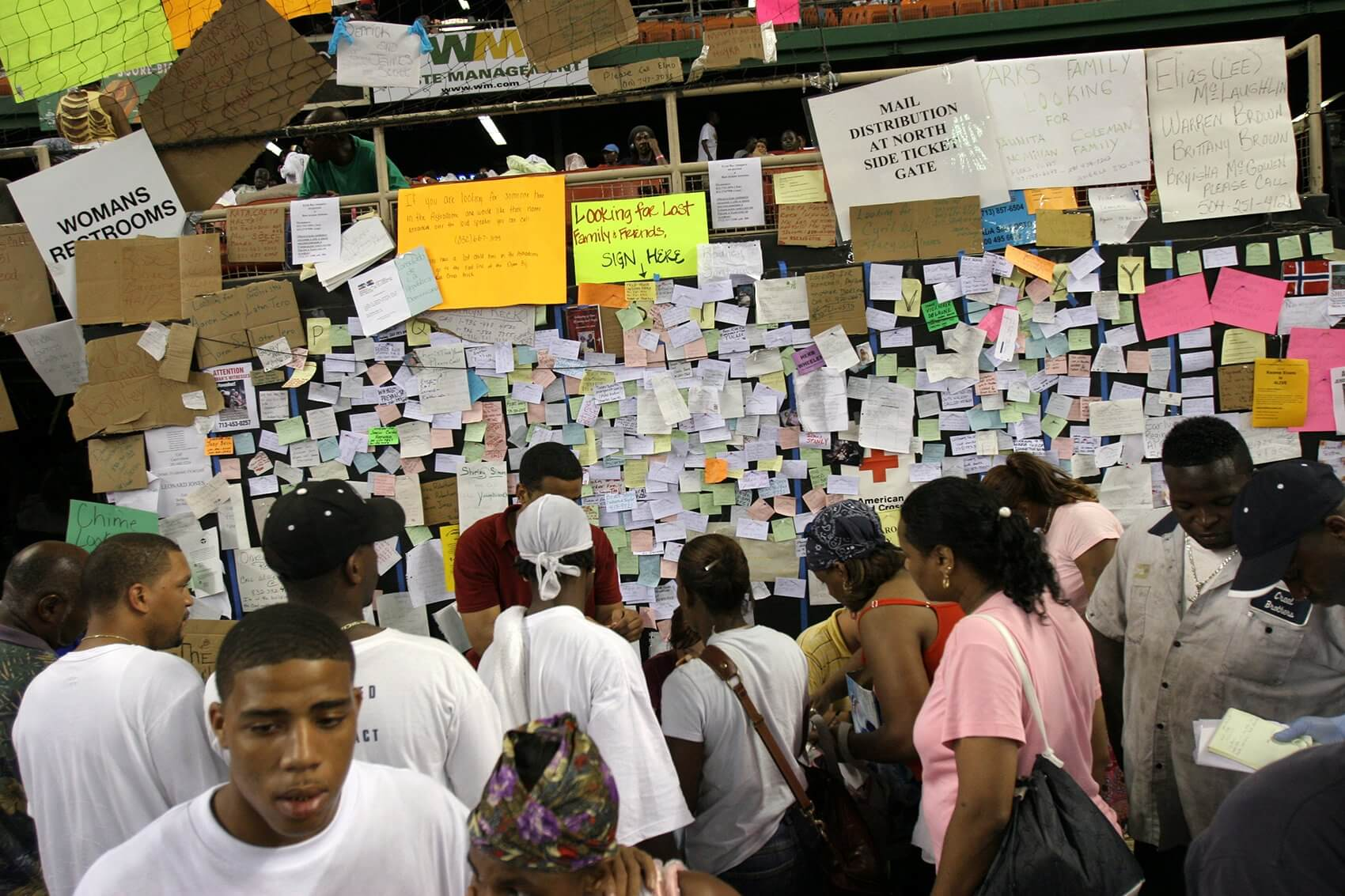 Thousands of names of missing loved ones are tacked to a board at the Astrodome. (Photo courtesy Texas Children's Hospital)