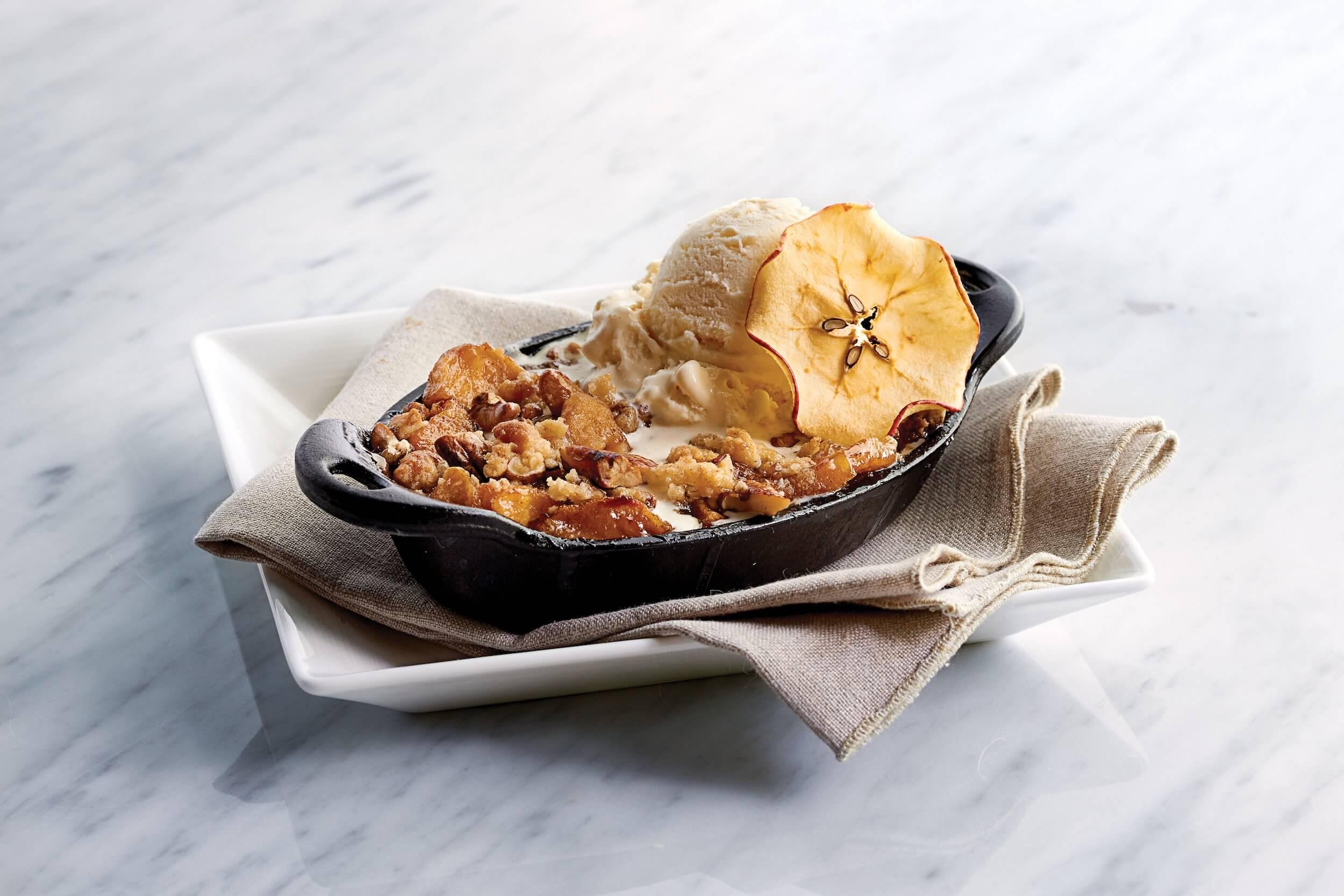 Apple tart with cinnamon ice cream.