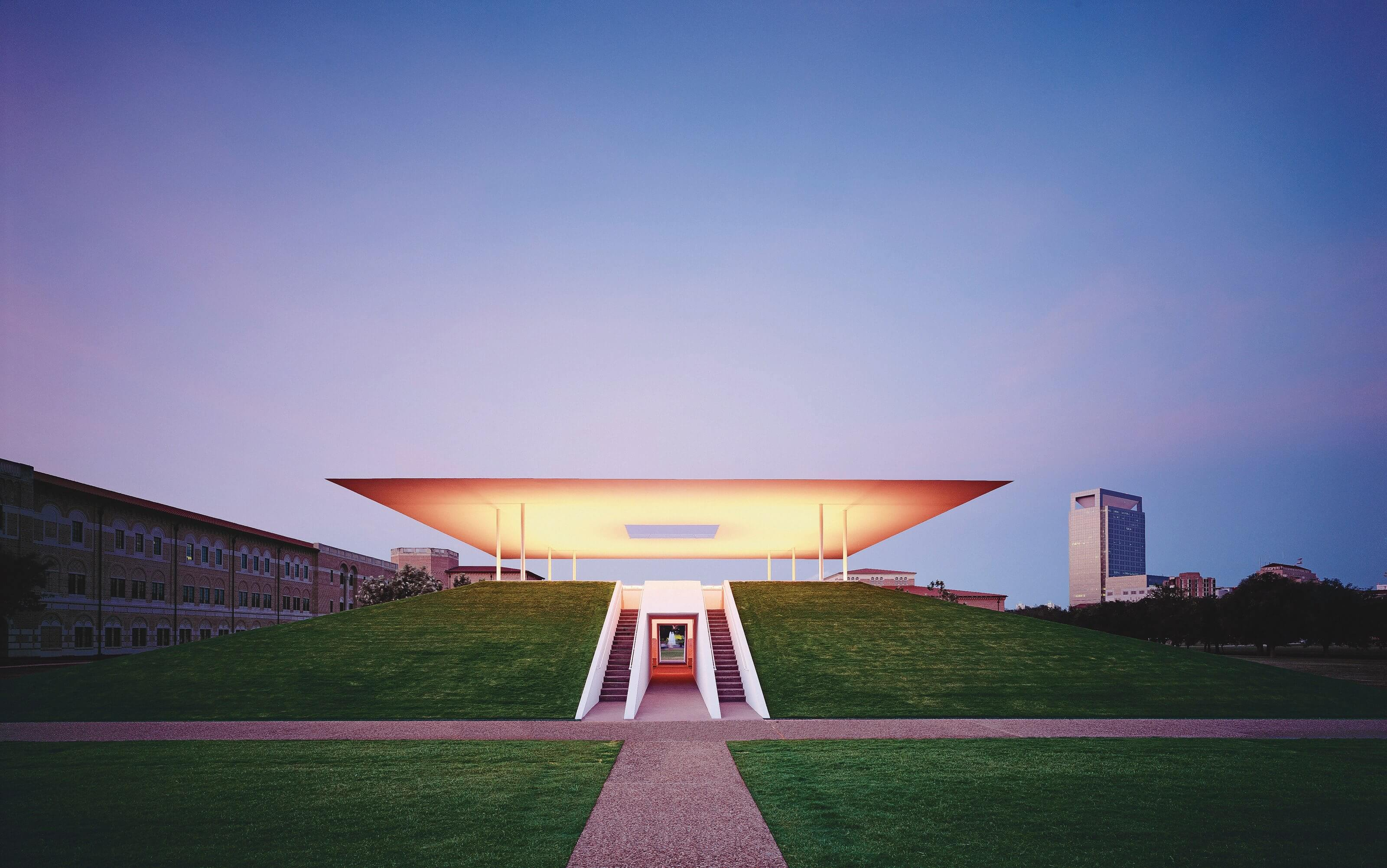 At sunrise and sunset, the Twilight Epiphany Skyspace changes colors as part of an elaborate light sequence designed by artist James Turrell. (Credit: Rice University)