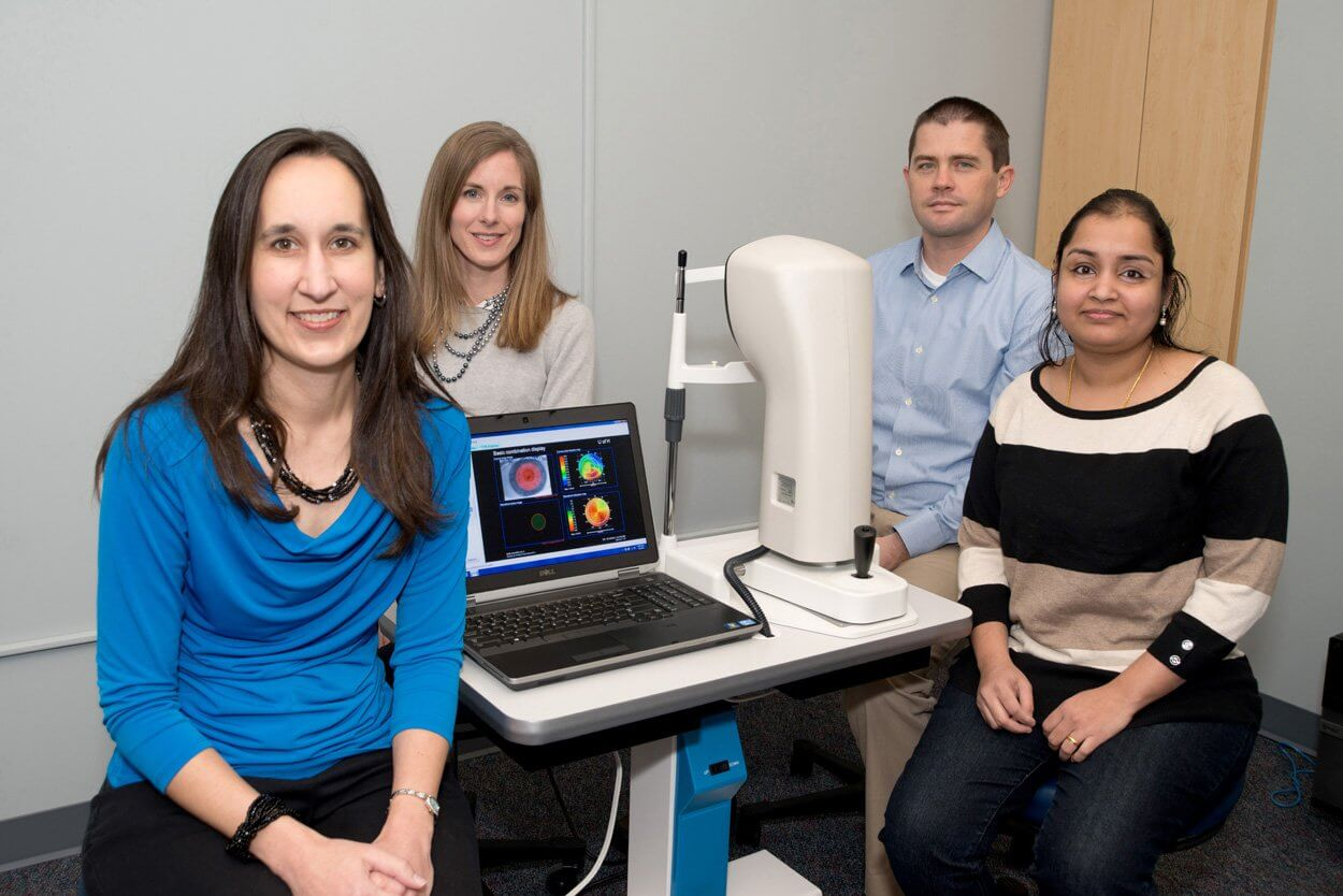 From left to right, assistant professor Heather Anderson, assistant research professor Julia Benoit, assistant professor Jason Marsack and post-doctoral fellow Ayeswarya Ravikumar. (Credit: David Gee)