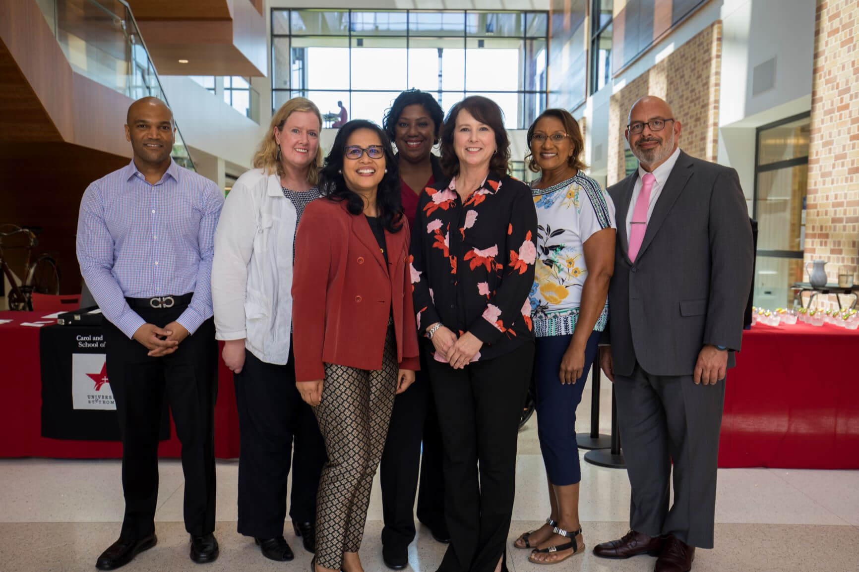 Doctorate of nursing practice students in the inaugural Fall 2018 cohort at the University of St. Thomas. From left: Corey Cowart, Mary Lee Pruzinsky, Maribel Marquez-Bhojani, Lori Timmons, Dell Roach, Brenda Charles and Gregory Bearinger. Not pictured: James Waters. (Photo courtesy of University of St. Thomas)
