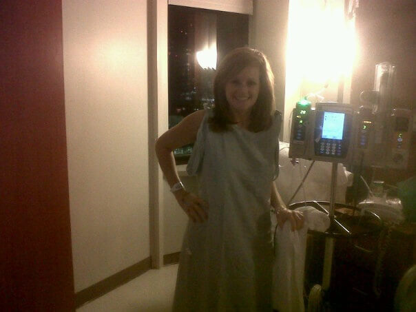 Hughes after undergoing lymph node surgery at MD Anderson (Photo credit: Sarah Hughes)