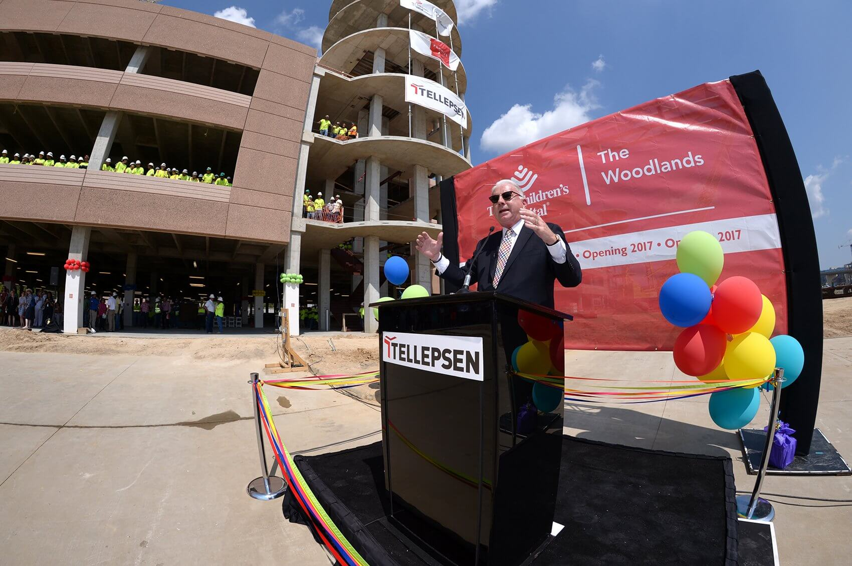 Mark A. Wallace, president and CEO of Texas Children's Hospital, welcomes guests to the important construction milestone ceremony. (Credit: Paul Vincent Kuntz/Texas Children's Hospital)