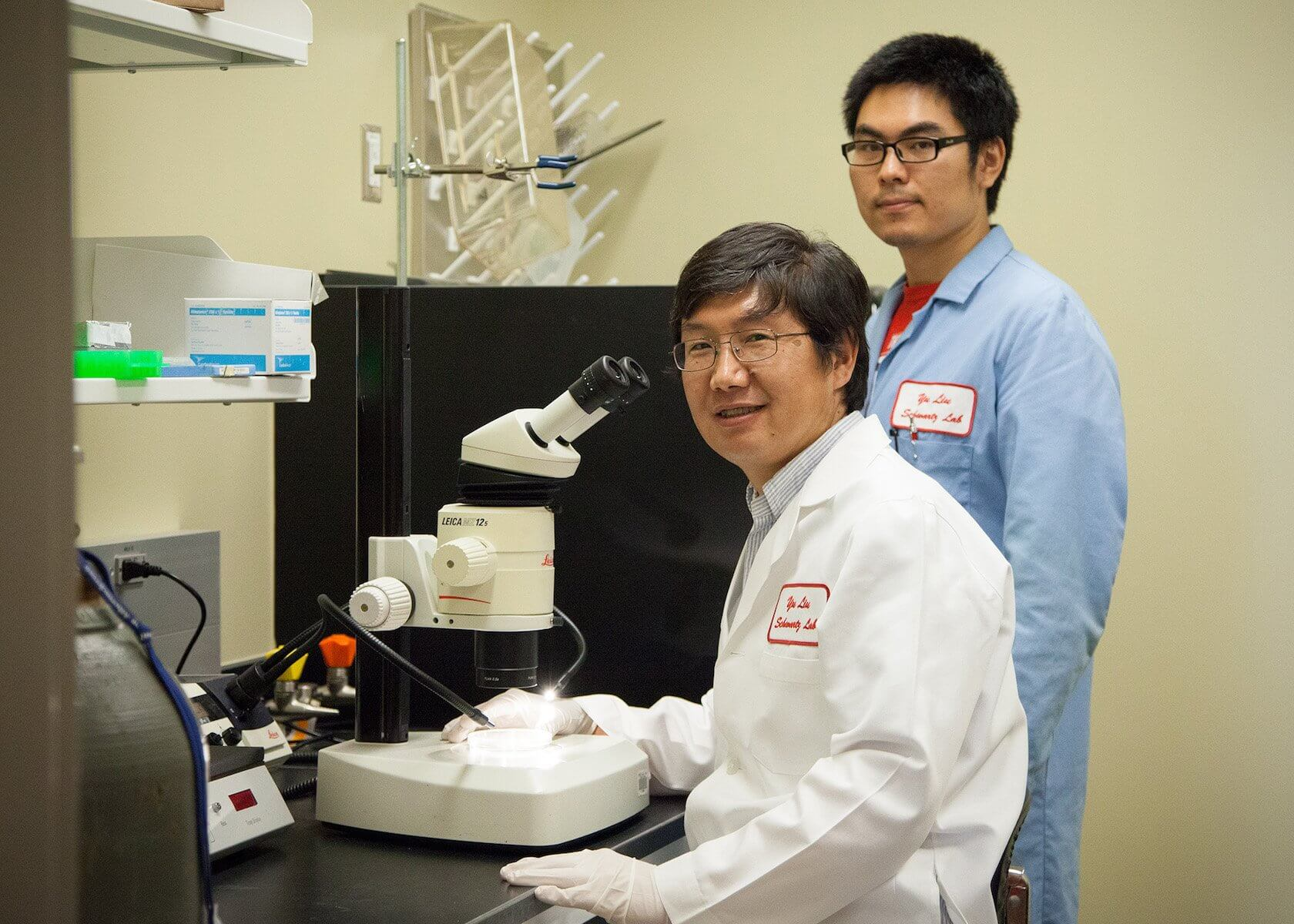 Yu Liu, Ph.D., an assistant professor of biochemistry at University of Houston, and Xiaopeng Shen, Xiaopeng Shen, a postdoctoral fellow in Liu's lab and first author of the article.