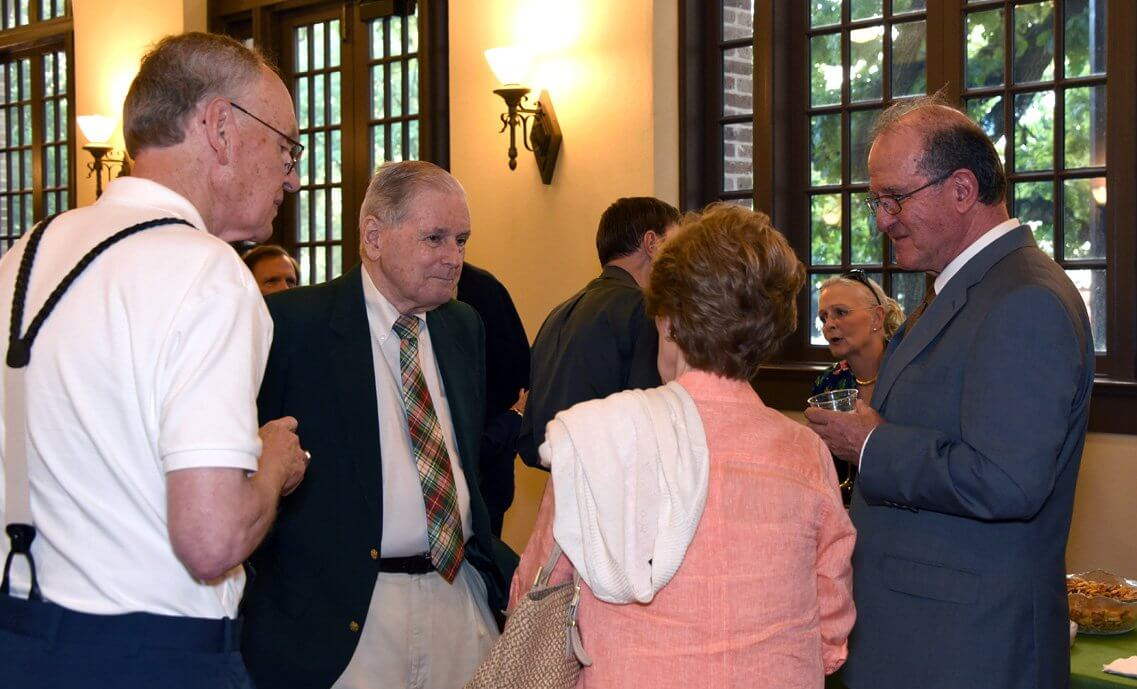 Attendees mingle at the reception prior to Kellar's presentation on the legacy of M.D. Anderson. (Photo courtesy of the Houston Metropolitan Research Center, Houston Public Library)