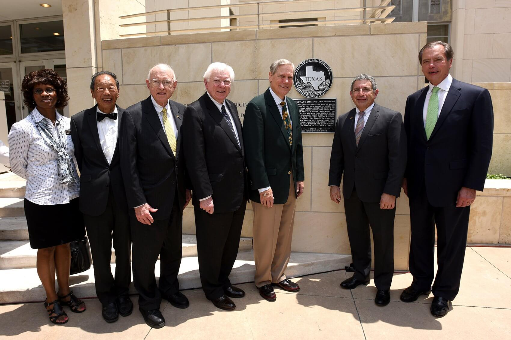 "From left to right: Debra Blacklock-Sloan and Dr. Edward C. ""Ed"" Ming Chen of the Harris County Historical Commission; Dr. William T. Butler, chancellor emeritus at Baylor College of Medicine; former Texas Governor Mark White; Corbin Robertson, Jr., grandson of Roy and Lillie Cullen and Baylor College of Medicine Trustee; Dr. Paul Klotman, president, CEO and executive dean at Baylor College of Medicine; and former Texas Lieutenant Governor David Dewhurst."