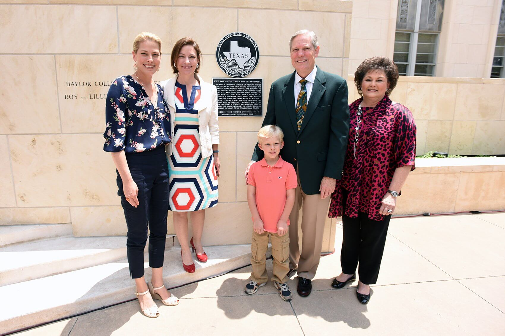 The Cullen family unveils the marker. From left to right: Christine Morenz, Cullen Geiselman, Shea Morenz, Corbin Robertson Jr. and Barbara Robertson.