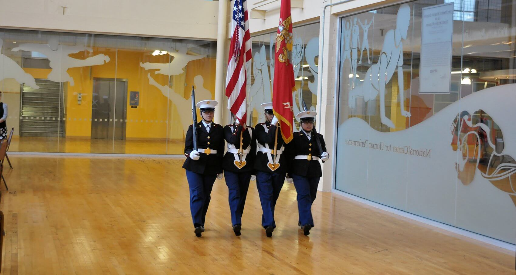 Local Marine Corps Junior ROTC members presented the colors.