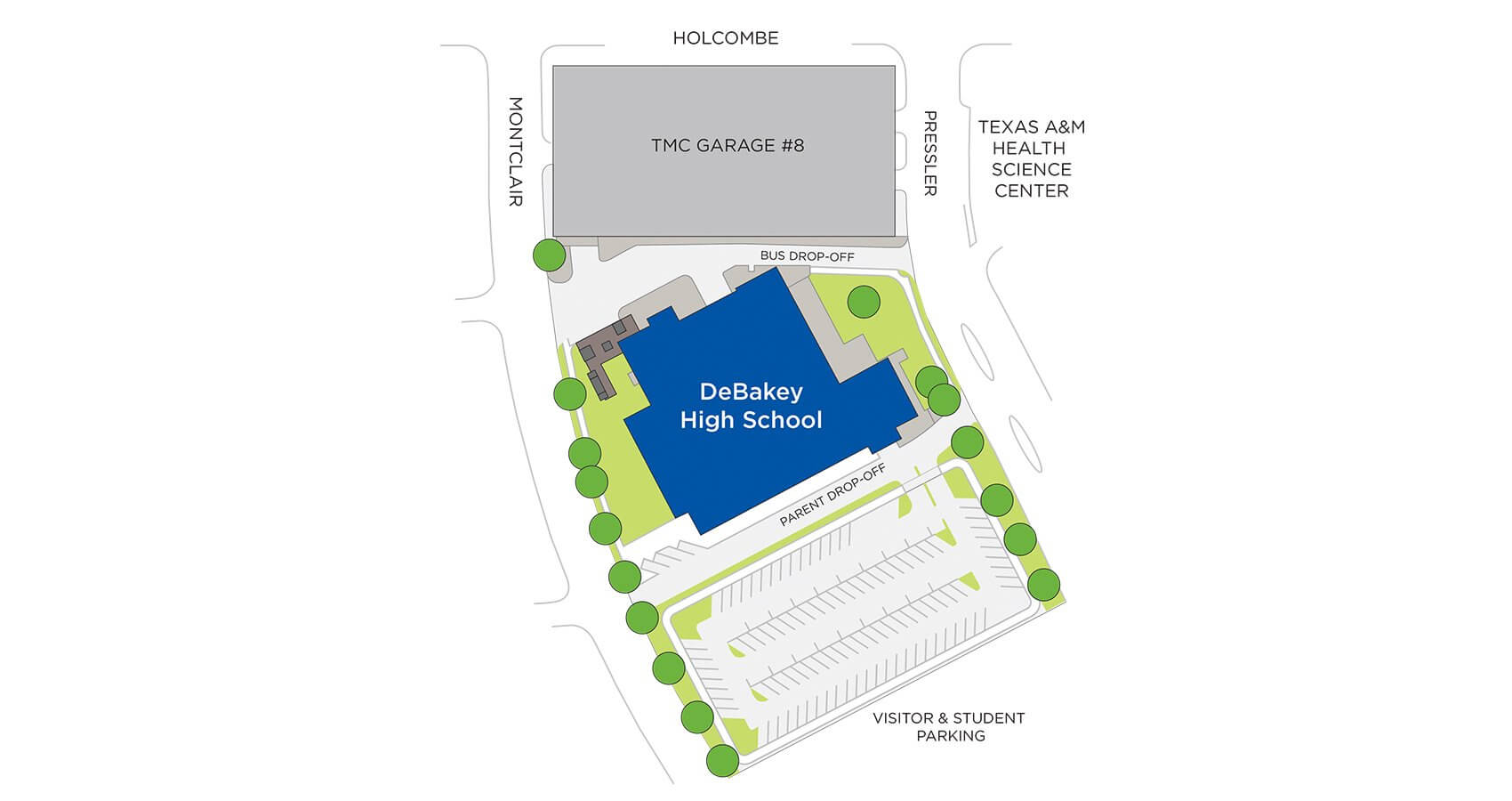 DeBakey High School's new location is in the heart of the medical center.