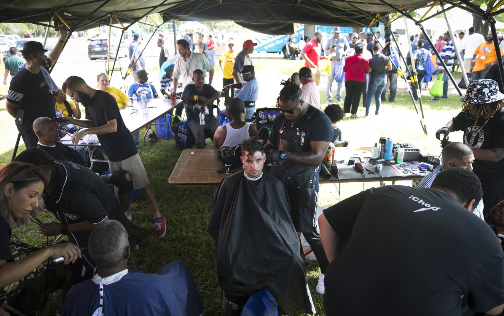 Veterans receive free haircuts by stylists and barbers from the Franklin Barber Institute during Houston Stand Down on  Friday, Oct. 5, 2018. (Photo: Annie Mulligan)