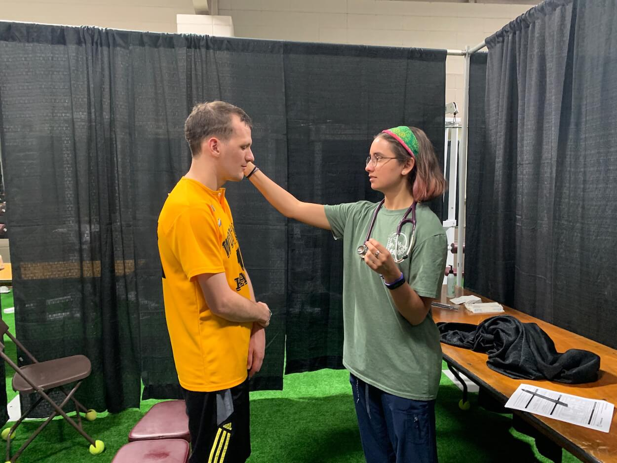 Special Olympics athlete Michael Motter received a physical exam at MedFest.