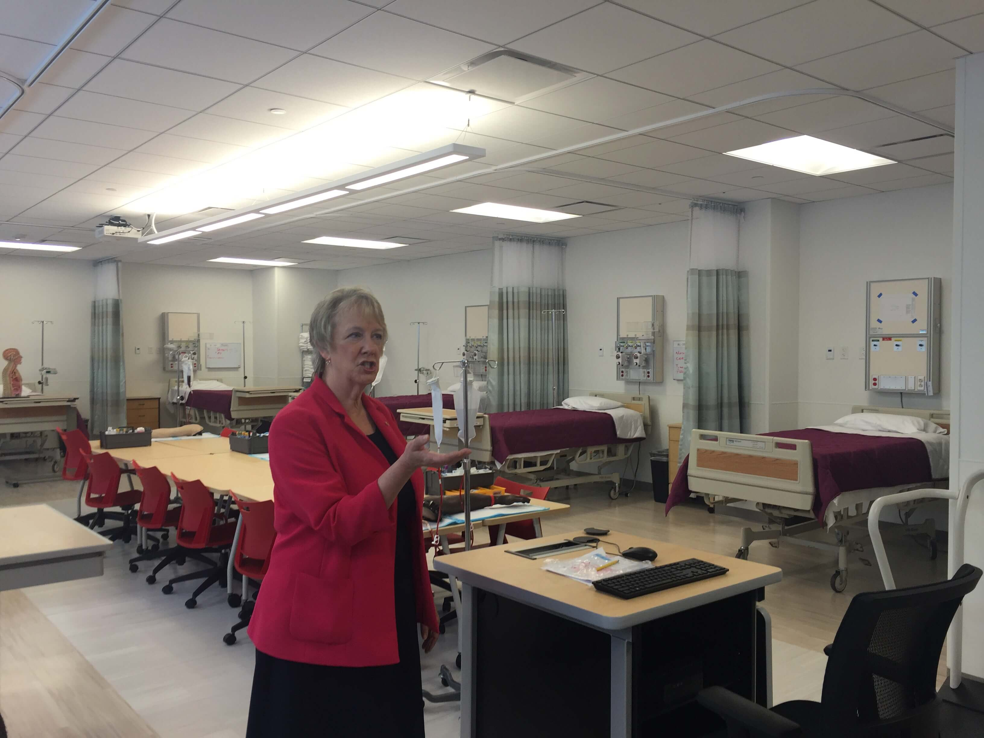 Dean Poldi Tschirch guides us through one of the simulation labs for the school of nursing.
