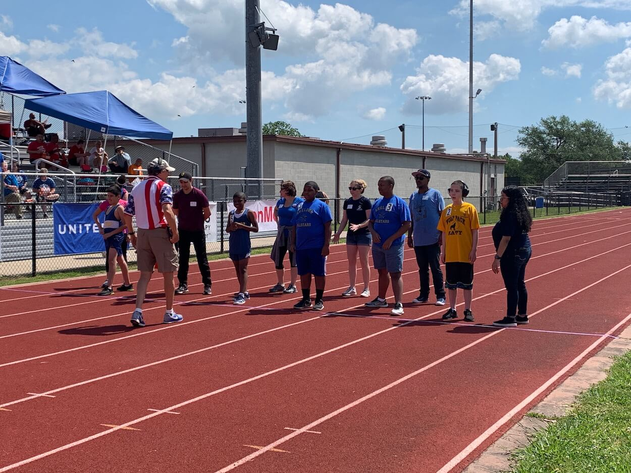 On your mark, get set, go! Athletes line up for a race.