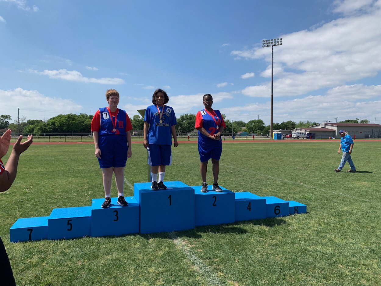 Special Olympics athletes received medals for their athletic triumphs.