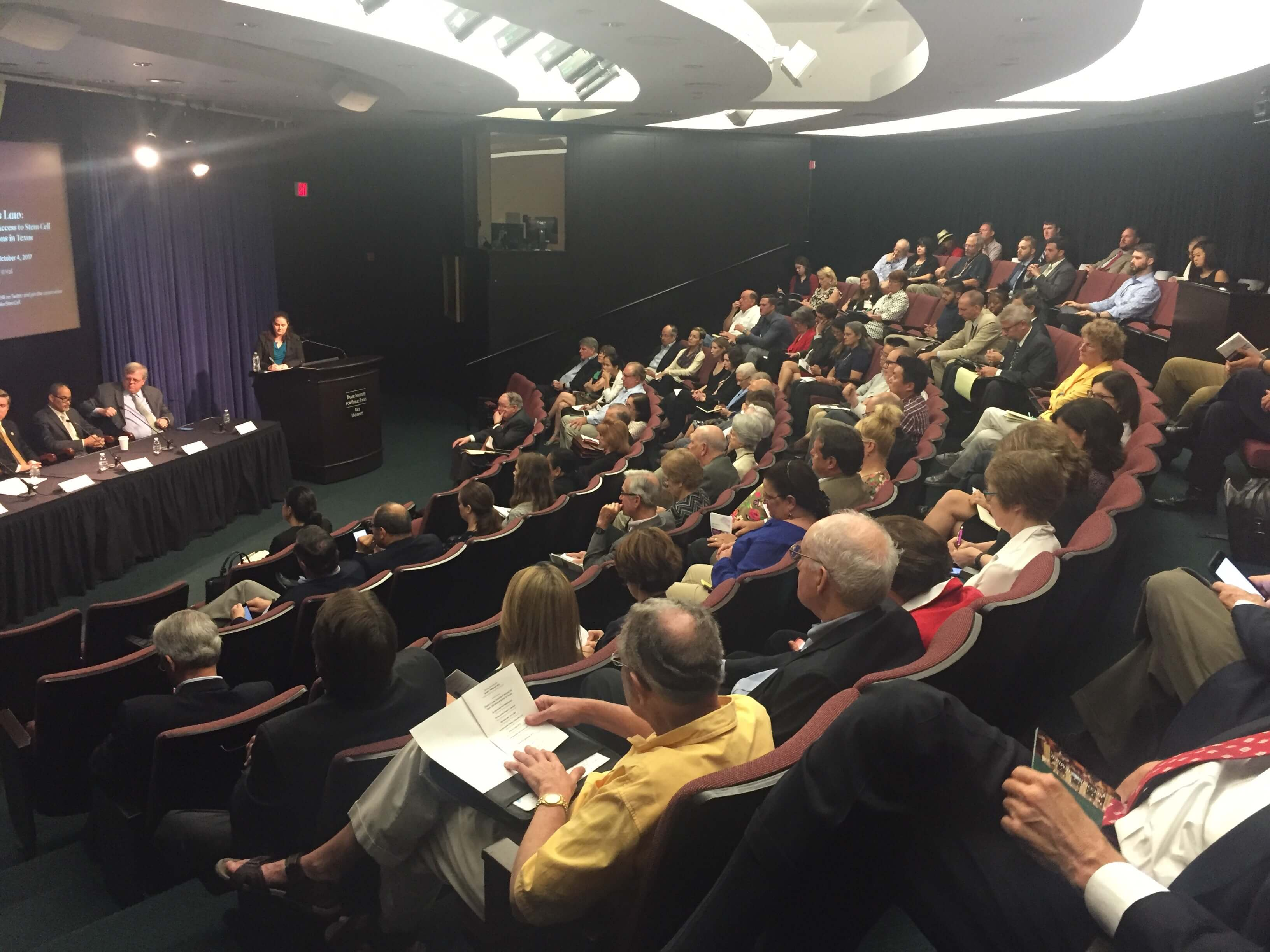 A panel discussion of Charlie's Law drew a large crowd to the Baker Institute at Rice University.