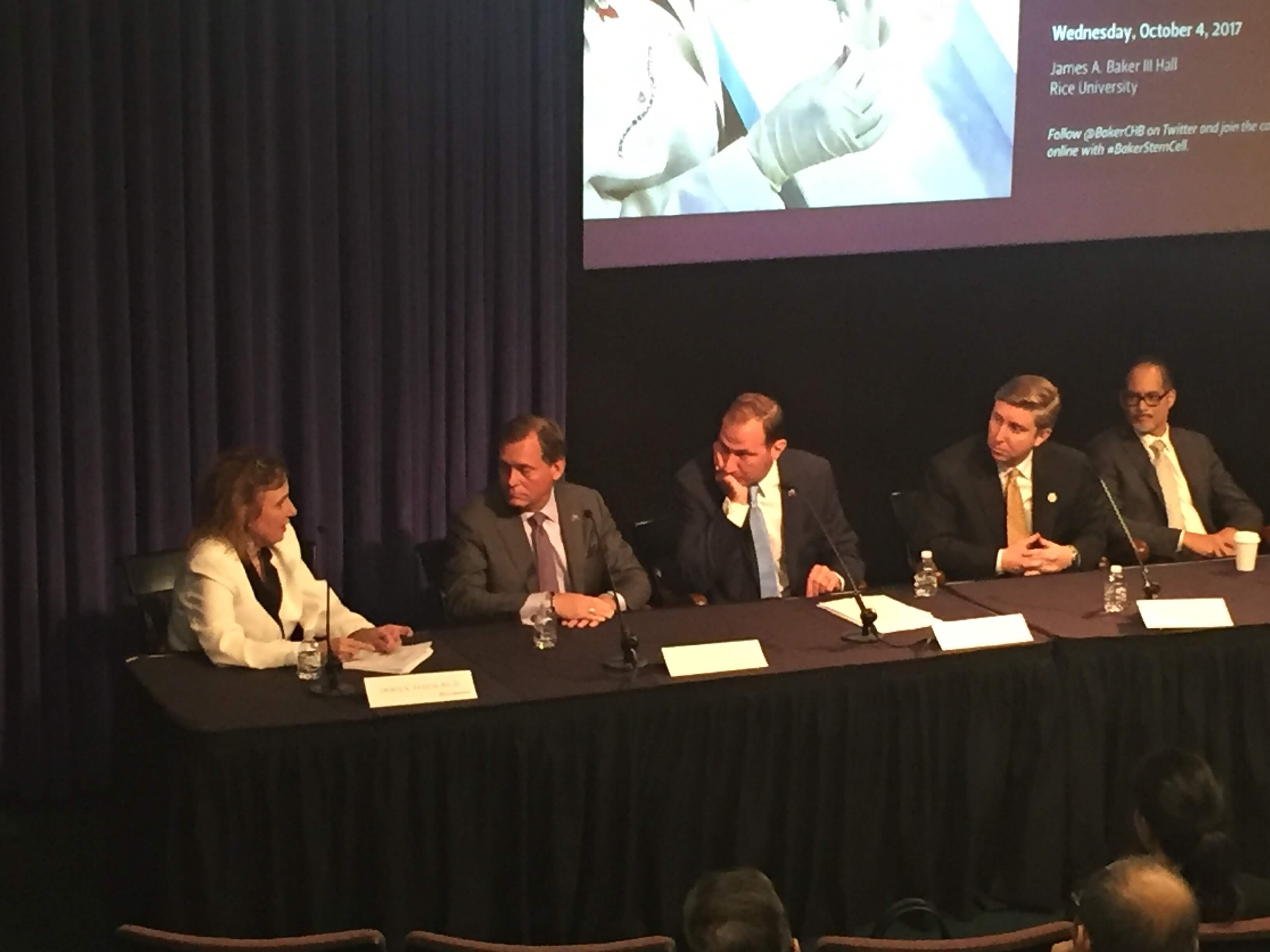 Panelists at the Baker Institute during a discussion of Charlie's Law.