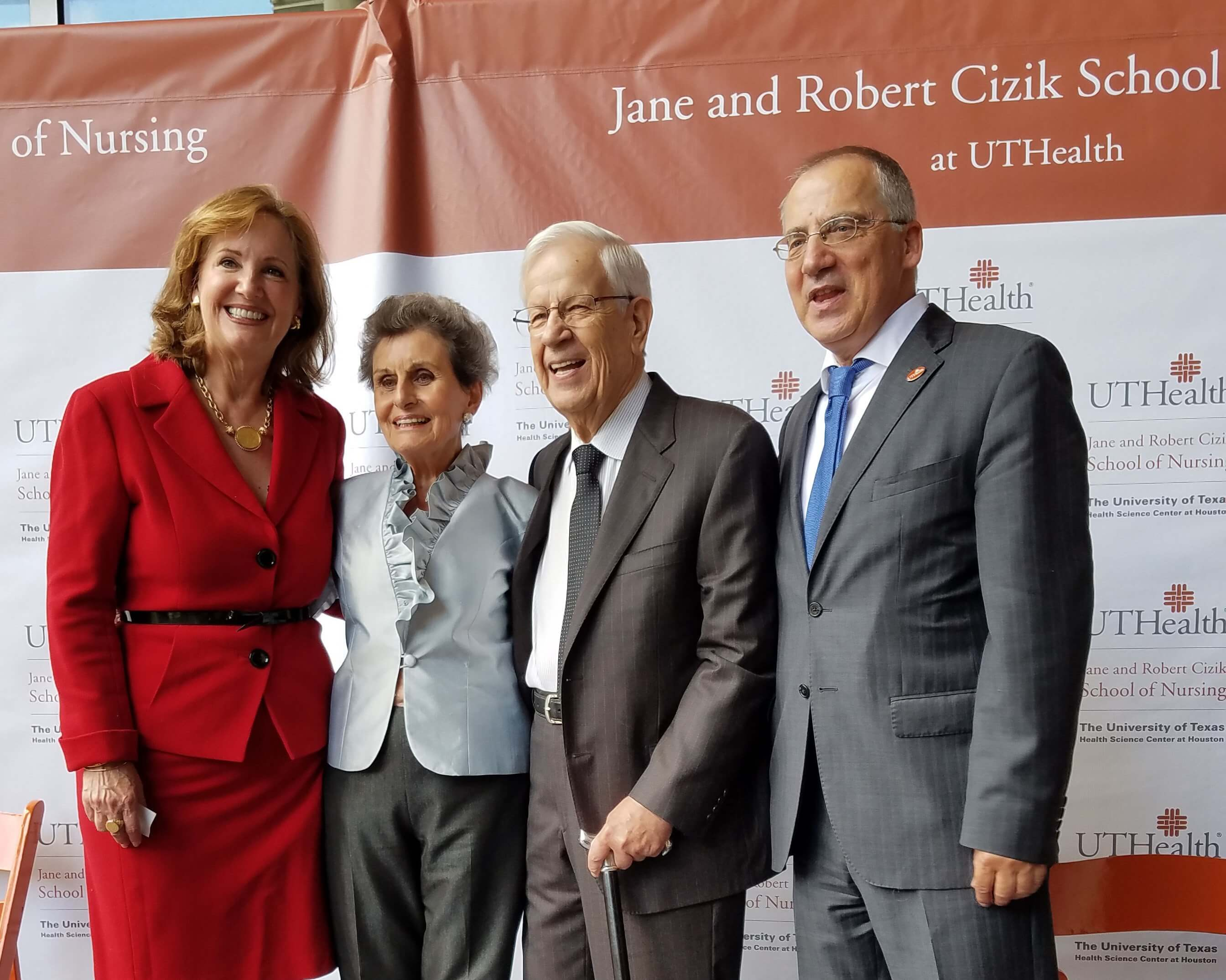 From left to right, Lorraine Frazier, Ph.D., RN, Dean of the Jane and Robert Cizik School of Nursing; Jane and Robert Cizik; and UTHealth President Giuseppe N. Colasurdo, M.D.