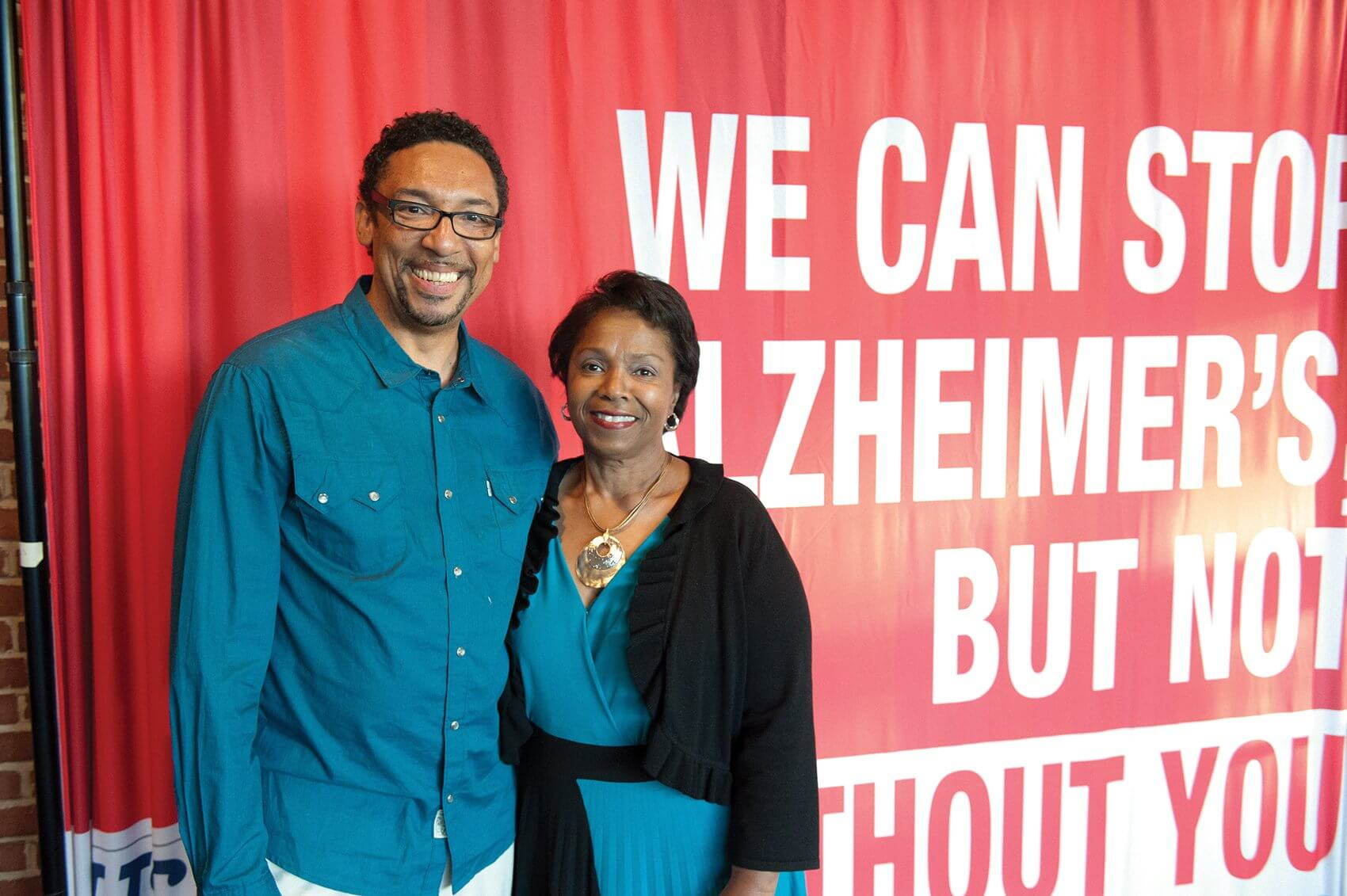 Playwright Garrett Davis and Stephanie Monroe, director of African-Americans Against Alzheimer's (Credit: U.S. Against Alzheimer's)