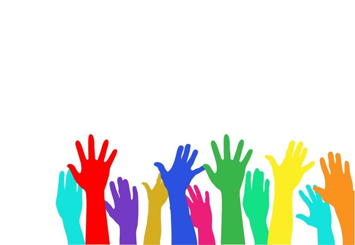illustration of raised hands