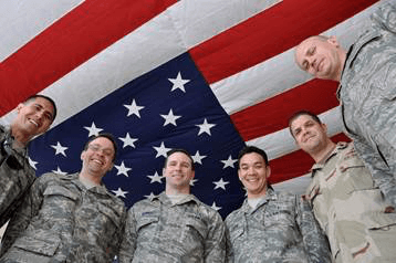 Joseph Love, M.D., second from left, with fellow soldiers in Afghanistan.