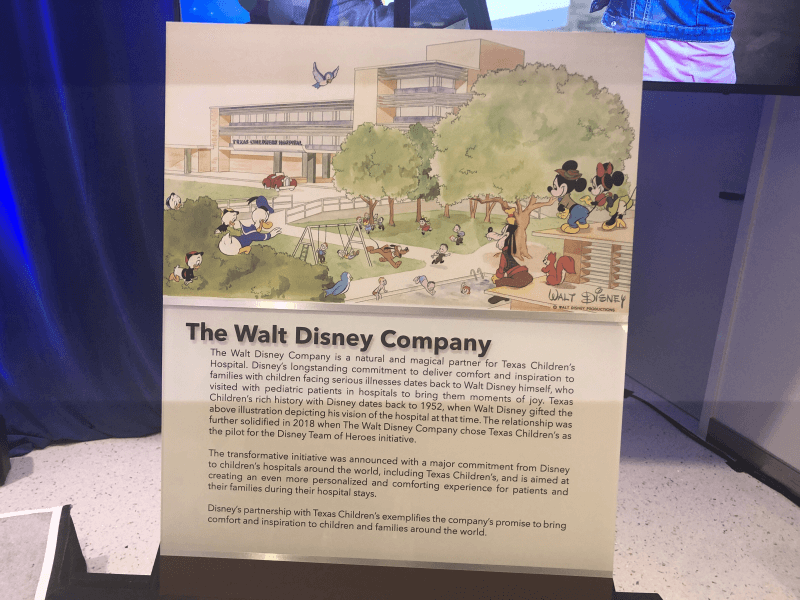 A plaque memorializes a rendering drawn by Walt Disney in 1954 which shows how he envisioned Texas Children's Hospital looking in the future.