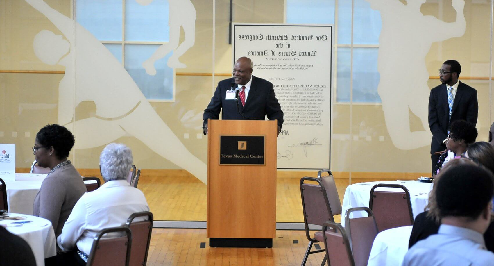 Larry D. Perkins, Ph.D., executive director of HR talent organization at MD Anderson and a veteran gave welcome remarks.