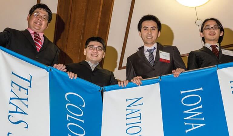 EcoBreeze of National Taiwan University, Taiwan, a company based on researching and commercializing innovative green cooling technology for customers in the ICT/LED field, stand tall; they finished in third place for $22,000. (Credit: Slyworks Photography)