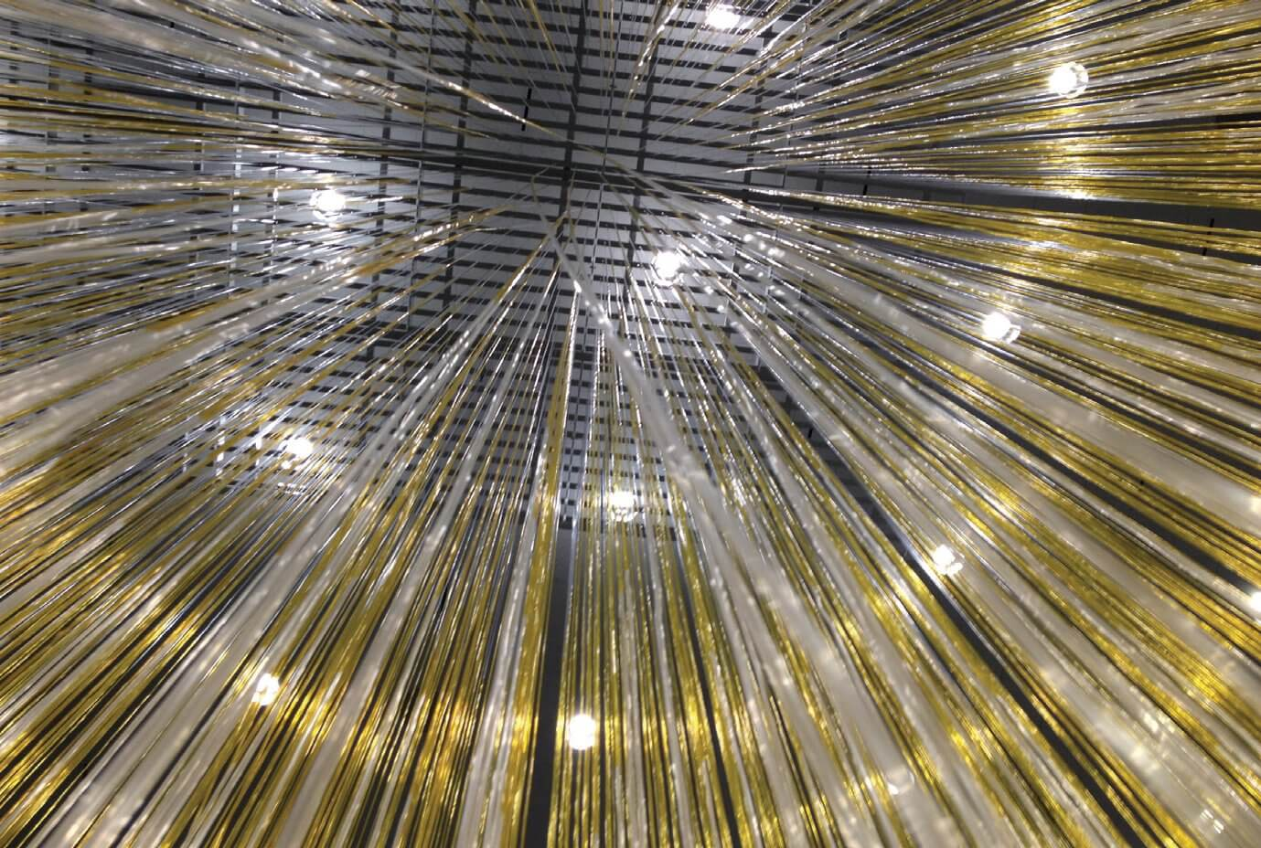 An interior view of the central section of Jesús Rafael Soto's Houston Penetrable, at the Museum of Fine Arts, Houston. (Credit: Museum of Fine Arts, Houston)