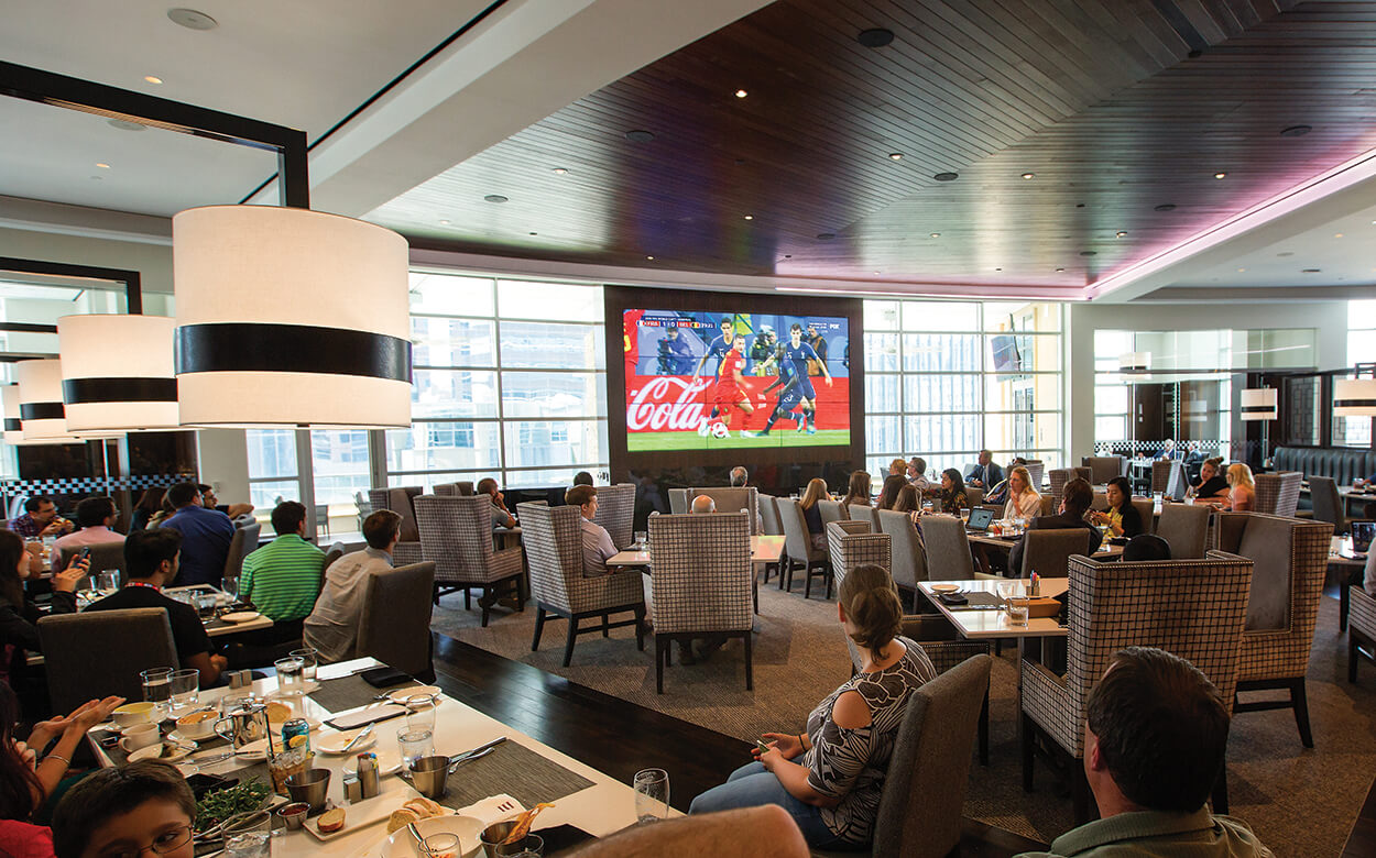 Patrons of THIRD COAST restaurant watched the FIFA World Cup semifinals in July.