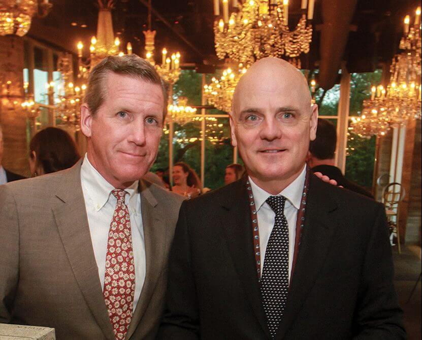WILLIAM F. McKEON, president and CEO of the Texas Medical Center, with JAMES CORNER, founder and director of James Corner Field Operations, at a fundraising event in Houston for TMC3's Helix Park (Credit: Gary Fountain).
