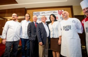 "Chefs Jon Buchanan and Robert Del Grande; President and CEO of the TMC Robert C. Robbins, M.D.; Taste of the NFL founder Wayne Kostroski; University of Houston president Renu Khator, Ph.D.; and UH Executive Chef Mark A. Riley at the announcement of TASTE OF THE NFL'S ""PARTY WITH A PURPOSE,"" which will be held at UH on the eve of Super Bowl LI."